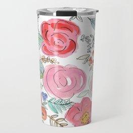 Watercolor Floral Print Travel Mug
