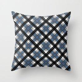 Black and blue tartan Throw Pillow