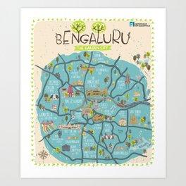 Bangalore City Map Art Print