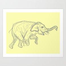 Elephant Swimming Gestural Drawing Art Print