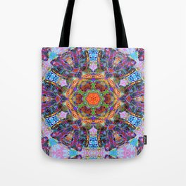 Mandala with colorful collage Tote Bag
