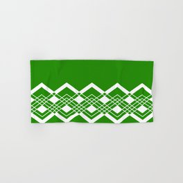 Abstract geometric pattern - green and white. Hand & Bath Towel