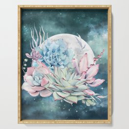 Teal Succulents Full Moon Night Sky by Nature Magick Serving Tray