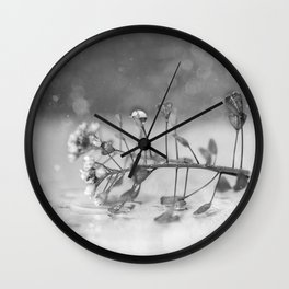 Black white shining wild flower macrophotography Wall Clock