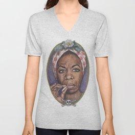 Watercolor Painting of Nina Simone Unisex V-Neck