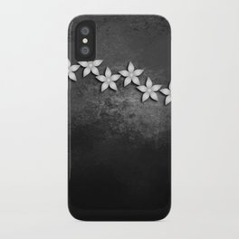 Spectacular silver flowers on black grunge texture iPhone Case