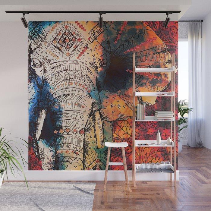 Indian Sketched Elephant Red Orange Asian Bohemian Hippie Elephants Art Wall Mural