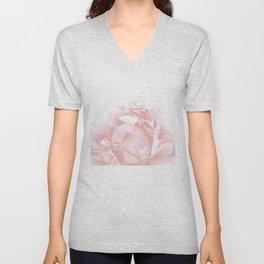 Beautiful Blush Cotton Peony Unisex V-Neck
