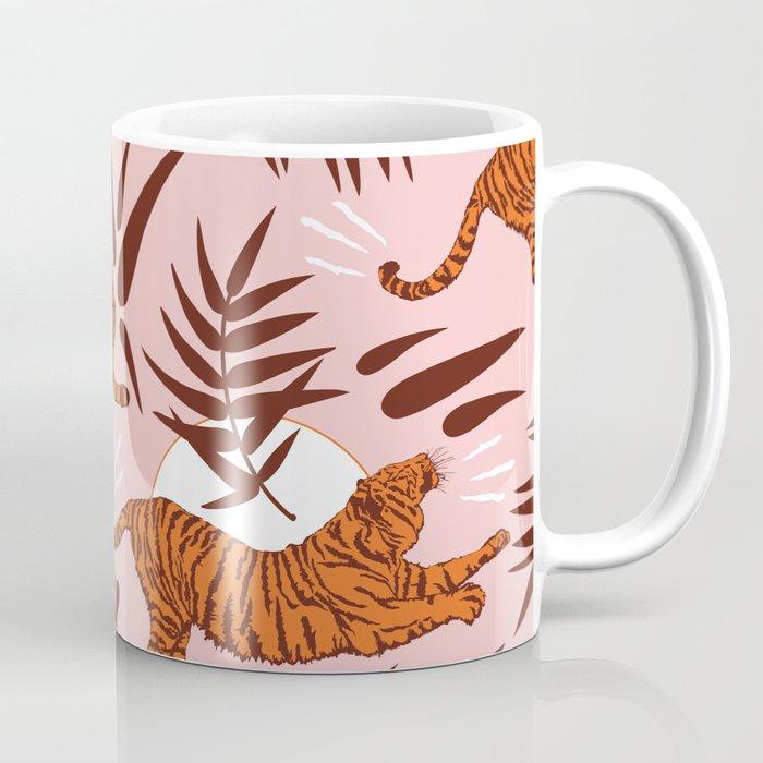 Vibrant Wilderness / Tigers on Pink Coffee Mug