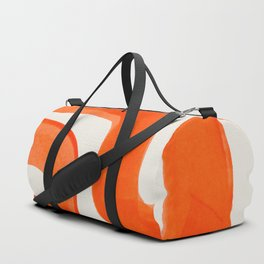 Mid Century Modern Abstract Minimalist Abstract Vintage Retro Orange Watercolor Brush Strokes Duffle Bag