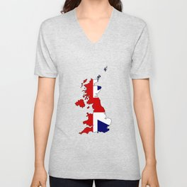 United Kingdom Map and Flag Unisex V-Neck