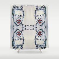 miley cyrus Shower Curtains featuring Miley Cyrus collage by Clairenisbet