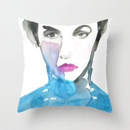 Pink Lipstick: Watercolor painting of woman in turquoise Throw Pillow