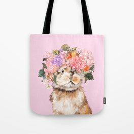 Rabbit with Flowers Crown Tote Bag