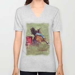 The Barrel Racer - Rodeo Horse and Rider Unisex V-Neck