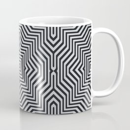 Minimal Geometrical Optical Illusion Style Pattern in Black & White Coffee Mug