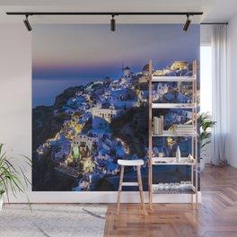 Santorini Island NightView Wall Mural