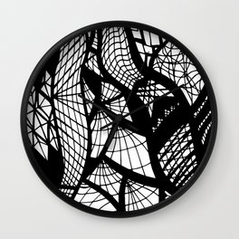 Black and White Free Hand Drawing of Mixed Patterns Wall Clock