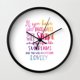 Good thoughts - colorful lettering Wall Clock