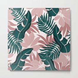 Abstract seamless tropical pattern with bright plants and leaves on a pastel background. Exotic jungle wallpaper. Beautiful print with hand drawn exotic plants. Metal Print