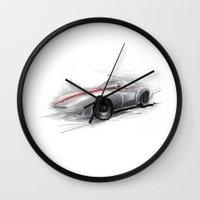 racing Wall Clocks featuring racing car by tatiana-teni