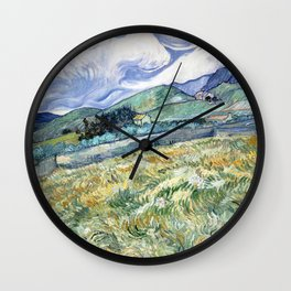 Landscape from Saint-Remy by Vincent van Gogh Wall Clock