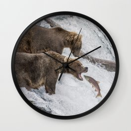 The Catch - Brown Bear vs. Salmon Wall Clock