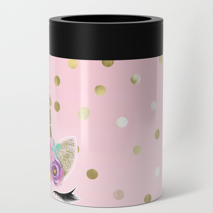 Floral Trendy Modern Unicorn Horn Gold Confetti Can Cooler