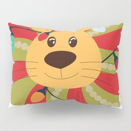 Your Big Cat in Decorative Christmas Wreath Pillow Sham