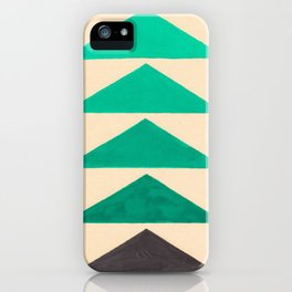 Colorful Turquoise Green Geometric Pattern with Black Accent iPhone Case