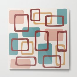 Mid Century Modern Abstract Squares Pattern 442 Metal Print