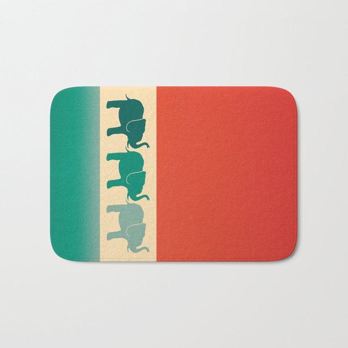 Three Elephants Burnt Orange Cream Amp Teal Bath Mat By