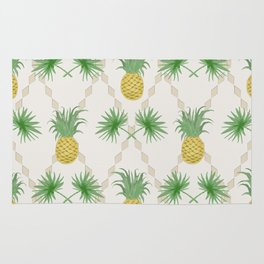 Exotic tropical  pattern with palm branches and pineapples . Rug
