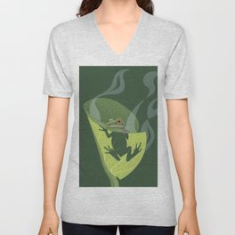 Pacific Tree Frog in Skunk Cabbage Unisex V-Neck