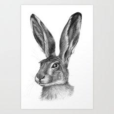 Cute Hare portrait G126 Art Print