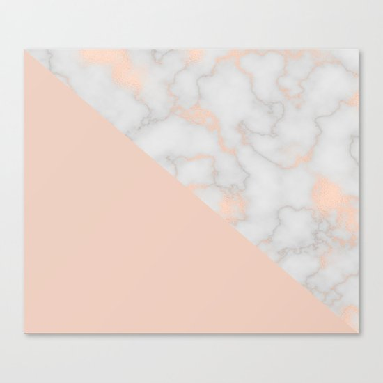 Rose gold marble and soft blush pink Canvas Print