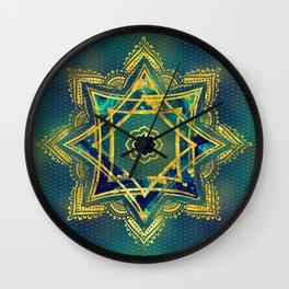 Golden Decorative Star of Lakshmi - Ashthalakshmi Wall Clock