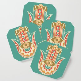 Colorful Hamsa Hand Coaster