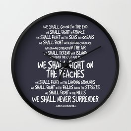 We Shall Fight on the Beaches Quotes Wall Clock