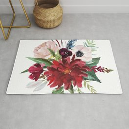 Colorful rustic flowers bouquet Rug