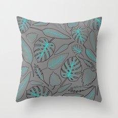 Monstera cyan leaves Throw Pillow
