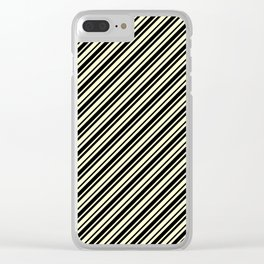 Cream Yellow and Black Diagonal RTL Var Size Stripes Clear iPhone Case