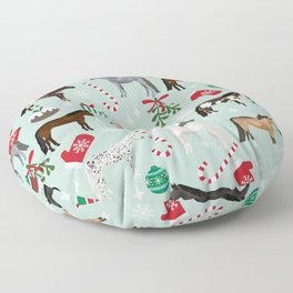 Christmas Horses - xmas, holiday, mistletoe, candy cane, snowflake Floor Pillow
