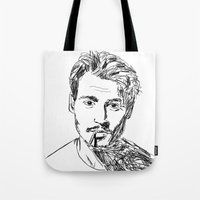 johnny depp Tote Bags featuring Johnny Depp by Dominic Gallelli