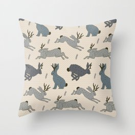 Jackalope Snow Parade Throw Pillow