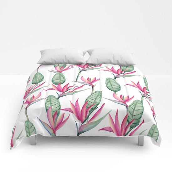 Pink strelitzia Comforters