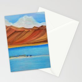 Pangong lake in pastel colours, Landscape painting. Stationery Cards