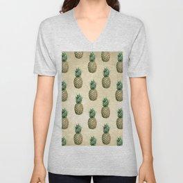 Vintage Pineapple Pattern Linen Unisex V-Neck