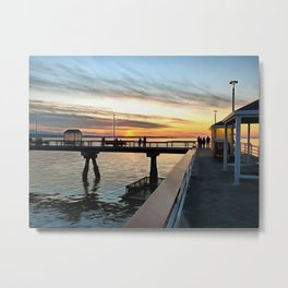Sunset on the Edmonds Washington Fishing Pier Metal Print