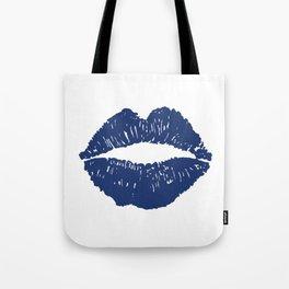 Navy Lips Tote Bag